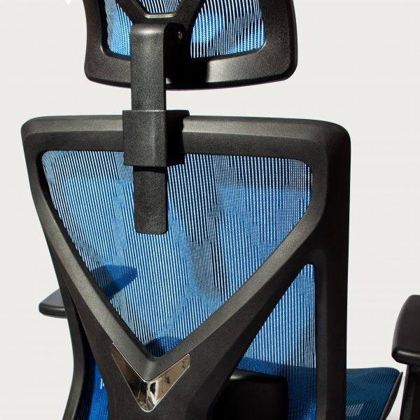 Blue Cradle Deluxe Ergonomic Office Chair Zoomed In Back Side