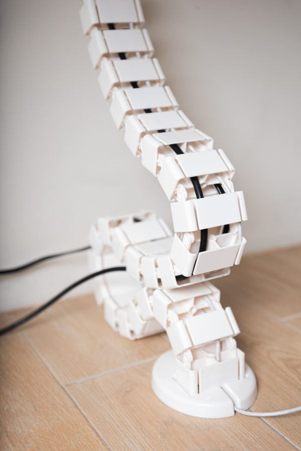 Stance White Cable Management Spine Base in use 45 Degree View