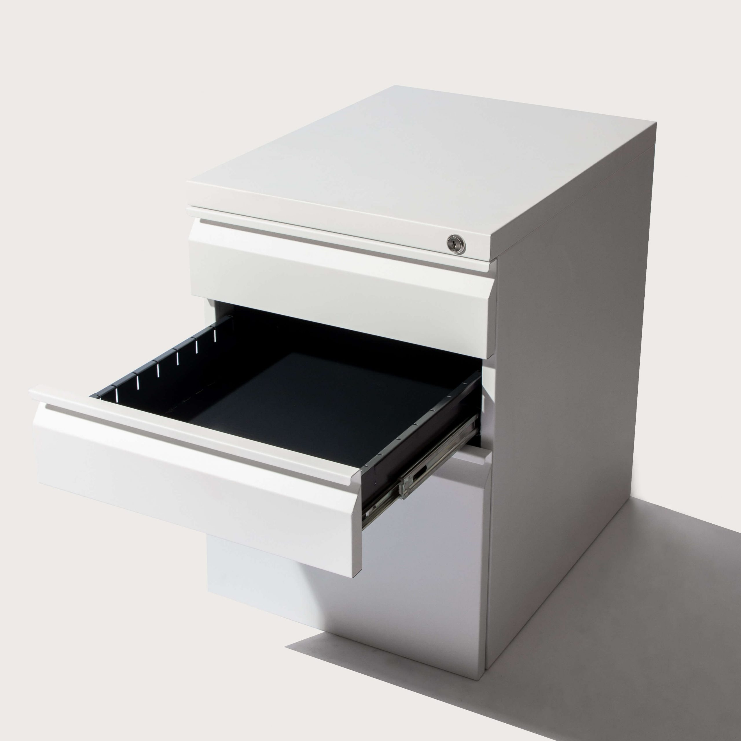 open middle drawer - white pedestal